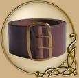 Leather Belt with brass buckle, dark brown